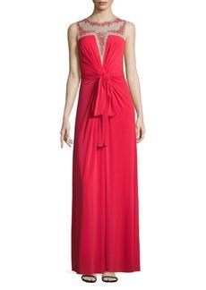 BCBGMAXAZRIA Sleeveless Illusion Top Gown