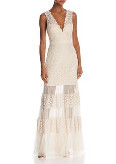 BCBG Max Azria BCBGMAXAZRIA Sleeveless Lace Sheer-Hem Gown