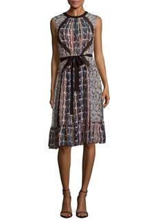 BCBGMAXAZRIA Sleeveless Printed Silk Dress