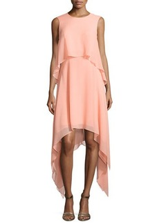 BCBGMAXAZRIA Sleeveless Tiered Crepe Dress