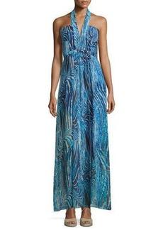 BCBGMAXAZRIA Starr Printed Halter Gown