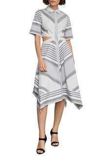 BCBG Max Azria BCBGMAXAZRIA Striped Cutout Cotton Handkerchief Dress