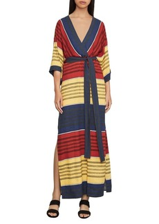 BCBG Max Azria BCBGMAXAZRIA Striped Faux-Wrap Maxi Dress