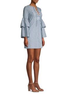 BCBG Max Azria Striped Lace-Up Mini Dress