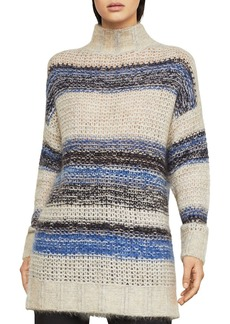 BCBG Max Azria BCBGMAXAZRIA Striped Mock-Neck Tunic Sweater