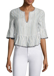 BCBG Max Azria Striped Ruffled Bell Sleeves Cropped Top