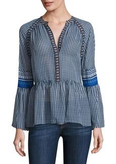 BCBG Max Azria Striped Silk V-neck Peasant Blouse