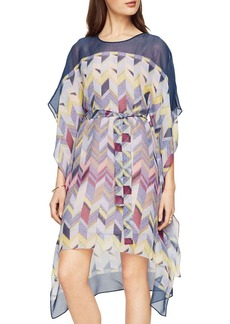 BCBGMAXAZRIA Suzy Printed Silk Handkerchief-Hem Dress