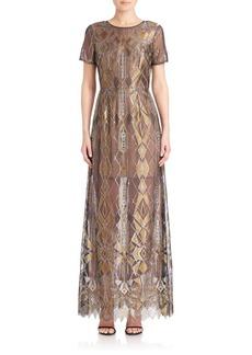 BCBGMAXAZRIA Taliah Metallic Lace Gown