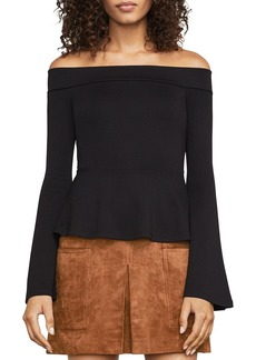 BCBG Max Azria BCBGMAXAZRIA Tia Bell Sleeve Off-the-Shoulder Top