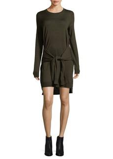 BCBGMAXAZRIA Tie Front Merino Wool Sweater Dress