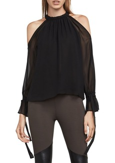 BCBG Max Azria Tie Sleeve Silk Cold-Shoulder Top