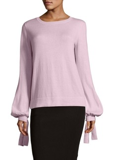 BCBG Max Azria Tie-Up Bishop-Sleeve Sweater