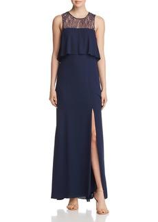BCBG Max Azria BCBGMAXAZRIA Tiered Lace-Back Gown