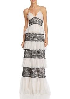 BCBG Max Azria BCBGMAXAZRIA Tiered Lace Gown