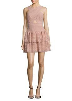 BCBGMAXAZRIA Tiered Lace Halter Dress