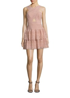 BCBG Max Azria BCBGMAXAZRIA Tiered Lace Halter Dress