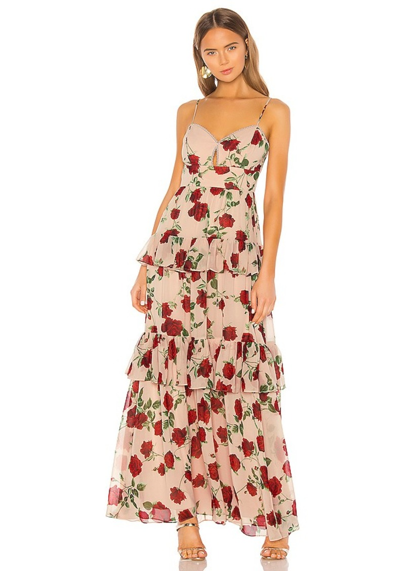 BCBGMAXAZRIA Tiered Rose Print Gown