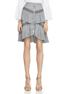 BCBGMAXAZRIA Tiered Striped Skirt