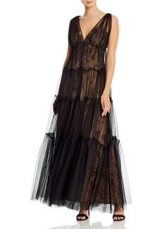 BCBG Max Azria BCBGMAXAZRIA Tulle-Overlay Lace Gown