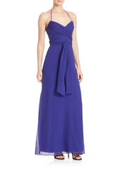 BCBG Max Azria BCBGMAXAZRIA Urban Jungle Rosabella Silk Open-Back Gown