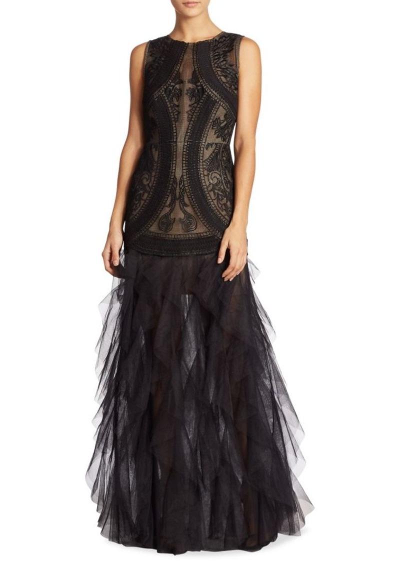 Bcbg Max Azria Bcbgmaxazria V Back Lace Amp Tulle Gown Dresses
