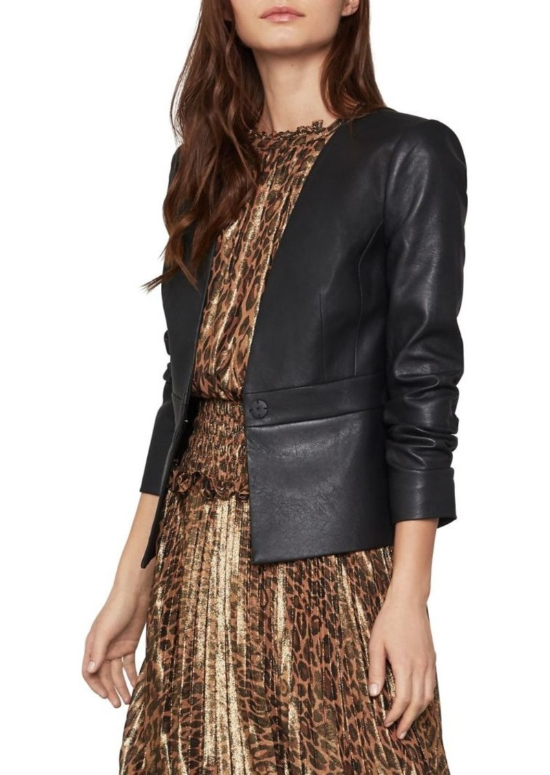 BCBG Max Azria BCBGMAXAZRIA V-Neck Faux Leather Jacket