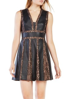 BCBGMAXAZRIA Val Faux Leather-Blocked Dress
