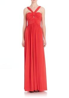 BCBGMAXAZRIA Valane Halter Ruched-Detail Gown