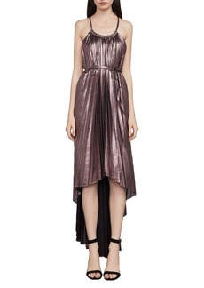 BCBGMAXAZRIA Valerie Metallic Pleated Halter Dress