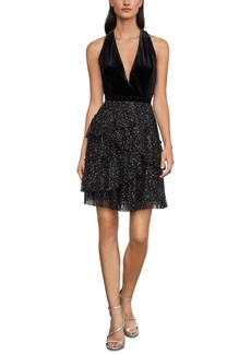 BCBG Max Azria Bcbgmaxazria Velvet & Pleated Tulle Dress
