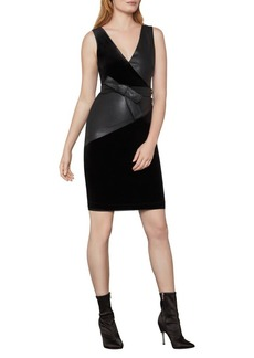 BCBG Max Azria BCBGMAXAZRIA Velvet and Vegan Leather Sheath Dress