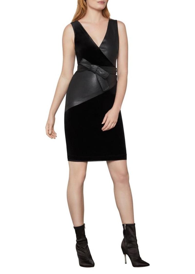 BCBG Max Azria BCBGMAXAZRIA Velvet and Vegan Leather Sheath Dress