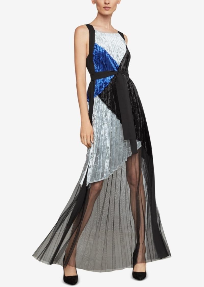 BCBG Max Azria Bcbgmaxazria Velvet Colorblocked Pleated Gown