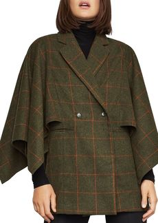 BCBG Max Azria BCBGMAXAZRIA Windowpane-Plaid Cape-Sleeve Jacket
