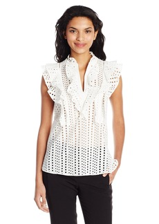 BCBG Max Azria BCBGMAXAZRIA Women's Addie Sleeveless Eyelet Collared Top W/Ruffles  S