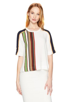 BCBGMAXAZRIA Women's Aja Woven Striped Boxy Top  M