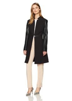 BCBG Max Azria BCBGMAXAZRIA Women's Arelia Woven Jacket with Faux Leather Sleeves  S