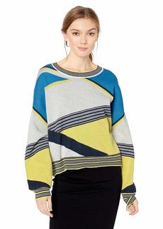 BCBG Max Azria BCBGMAXAZRIA Women's Asymmetric Colorblocked Sweater  XS