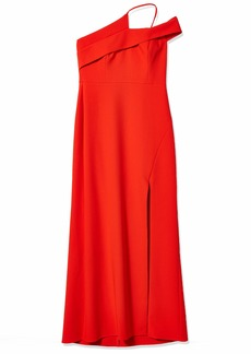 BCBG Max Azria BCBGMAXAZRIA Women's Asymmetrical Neck Long Evening Dress