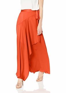 BCBG Max Azria BCBGMAXAZRIA Women's Asymmetrical Satin Maxi Wrap Skirt Poppy red XS