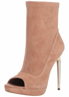BCBG Max Azria BCBGMAXAZRIA Women's Bali Peep Toe Bootie Boot maple stretch suede  M US