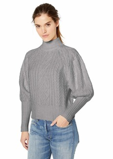 BCBG Max Azria BCBGMAXAZRIA Women's Balloon Sleeve Cable Knit Turtleneck Sweater  S