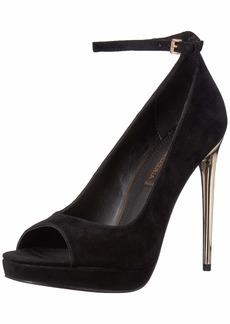 BCBG Max Azria BCBGMAXAZRIA Women's Becky Peep Toe Pump Shoe black suede  M US