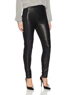 BCBG Max Azria BCBGMAXAZRIA Women's Beysa Knit Faux Leather Leggings with Grommet Details  L
