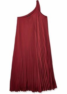 BCBG Max Azria BCBGMAXAZRIA Women's Bow Shoulder Pleated Dress DEEP RED