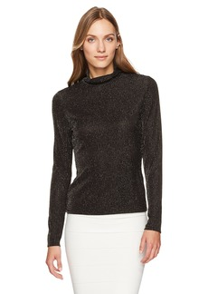 BCBGMAXAZRIA Women's Brinne Metallic Knit Turtleneck Top  S