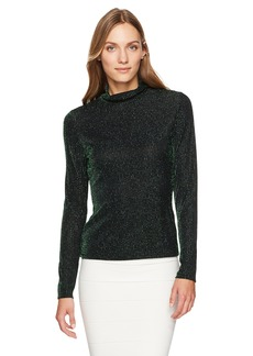 BCBG Max Azria BCBGMAXAZRIA Women's Brinne Metallic Knit Turtleneck Top  XS