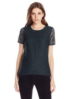 BCBGMAXAZRIA Women's Cacey High-Low Lace Top with Peplum