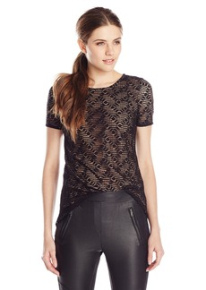 BCBG Max Azria BCBGMAXAZRIA Women's Cacey High-Low Lace Top with Peplum